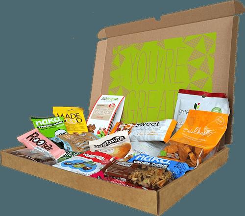 Box gevuld met gezonde snacks