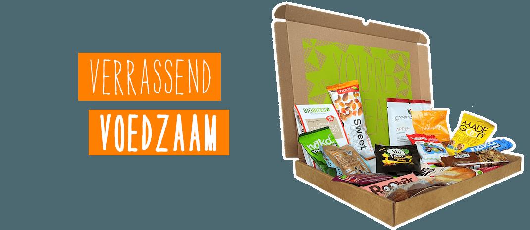 Box met 18 lekkere en gezonde tussendoortjes